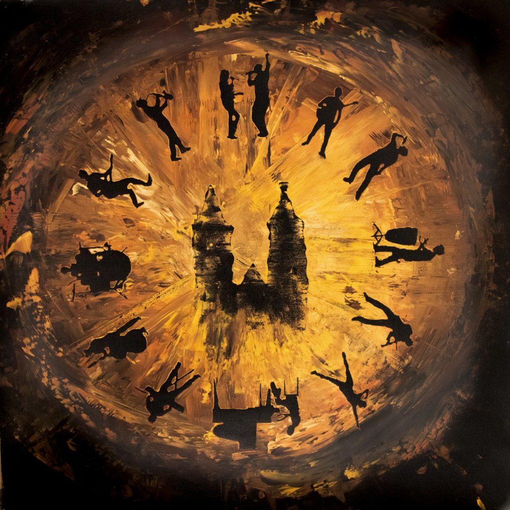 Künstler schreiben gemeinsam einen Song - Logo in der Form eines Auges